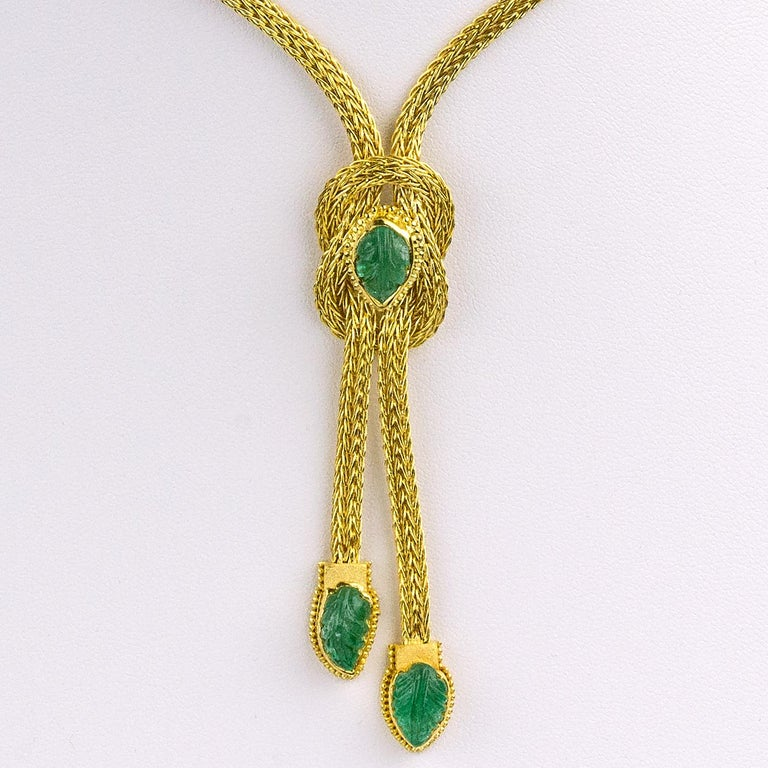 Byzantine Georgios Collections 18 Karat Gold Pendant Rope Necklace with Emeralds For Sale