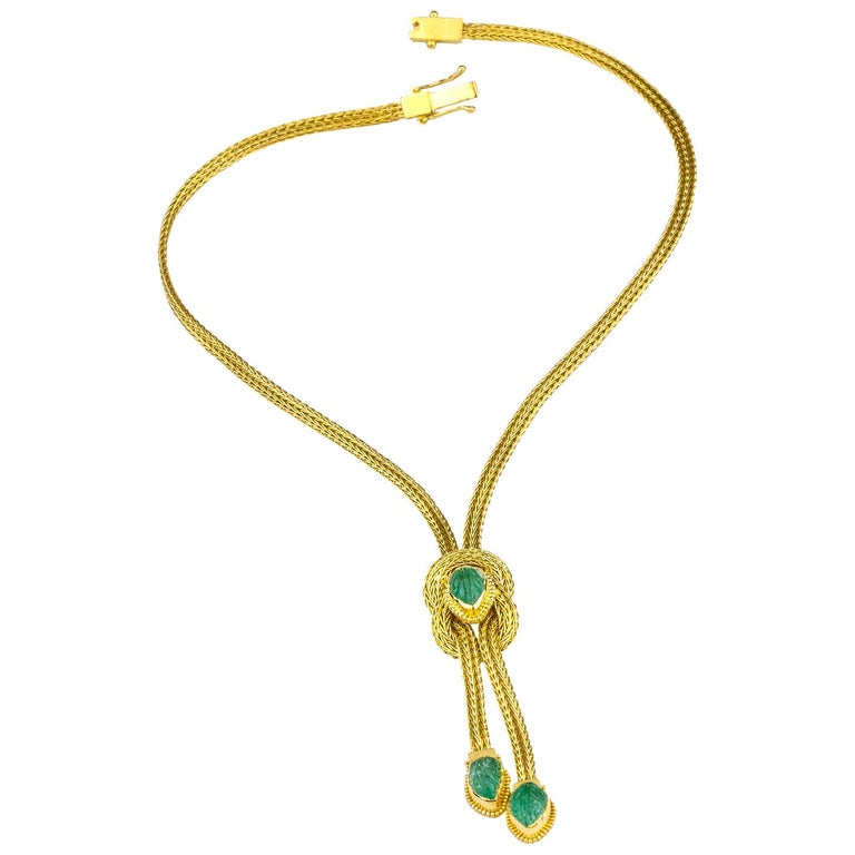 Georgios Collections 18 Karat Gold Pendant Rope Necklace with Emeralds In New Condition For Sale In Astoria, NY