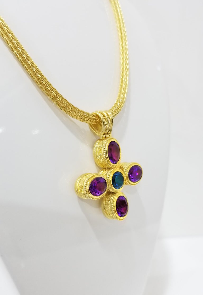 Byzantine Georgios Collections 18 Karat Gold Reversible Diamond Cross with Amethyst Topaz For Sale
