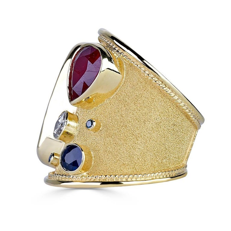Byzantine Georgios Collections 18 Karat Gold Ring with Opal Ruby Sapphire and Blue Diamond For Sale