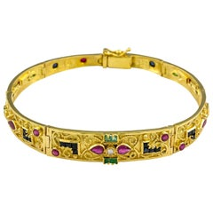 Georgios Collections 18 Karat Gold Ruby Emerald Sapphire and Diamond Bracelet