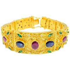 Georgios Collections 18 Karat Gold Ruby Emerald Sapphire Diamond Wide Bracelet