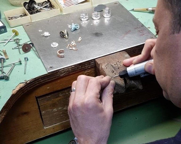 Princess Cut Georgios Collections 18 Karat Gold Sapphire and Diamond Greek Key Long Pendant For Sale