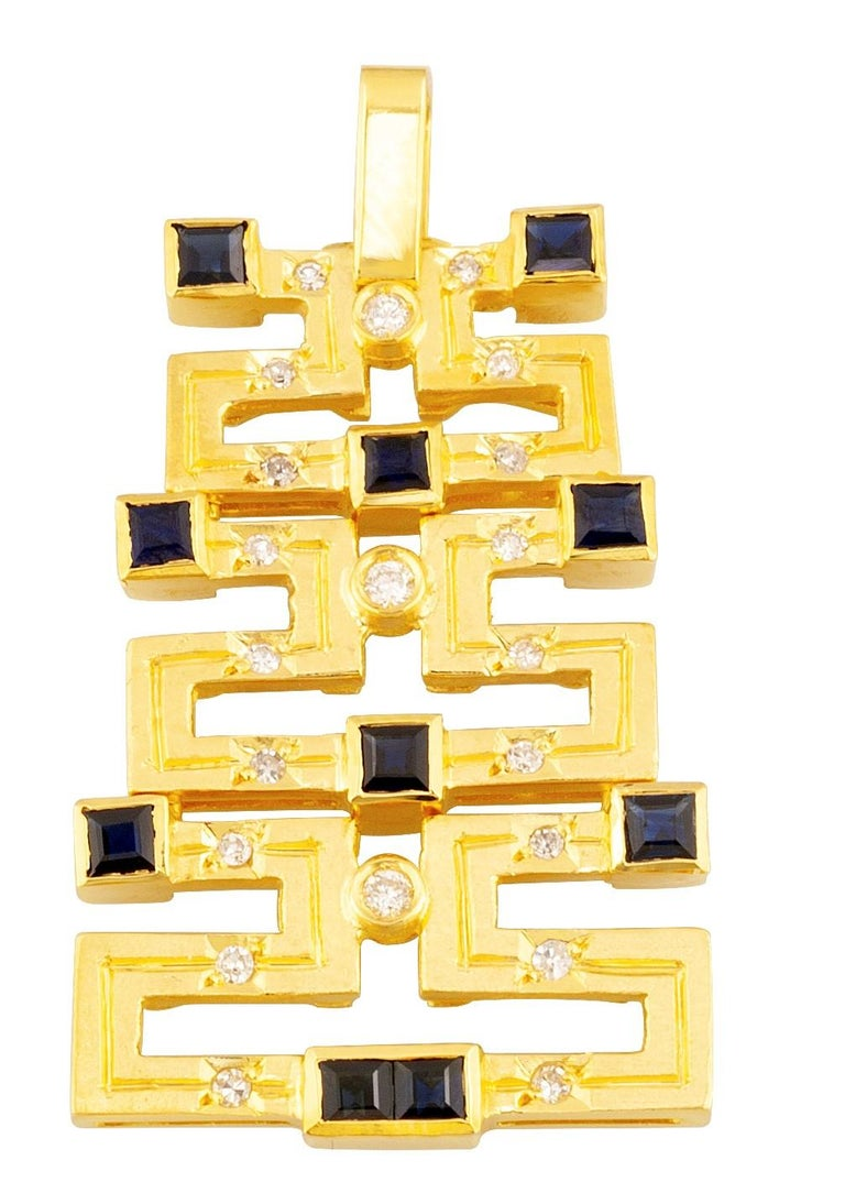 Georgios Collections 18 Karat Gold Sapphire and Diamond Greek Key Long Pendant In New Condition For Sale In Astoria, NY