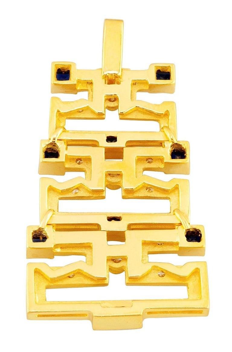 Georgios Collections 18 Karat Gold Sapphire and Diamond Greek Key Long Pendant For Sale 1