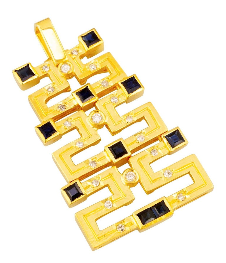 Georgios Collections 18 Karat Gold Sapphire and Diamond Greek Key Long Pendant For Sale 3