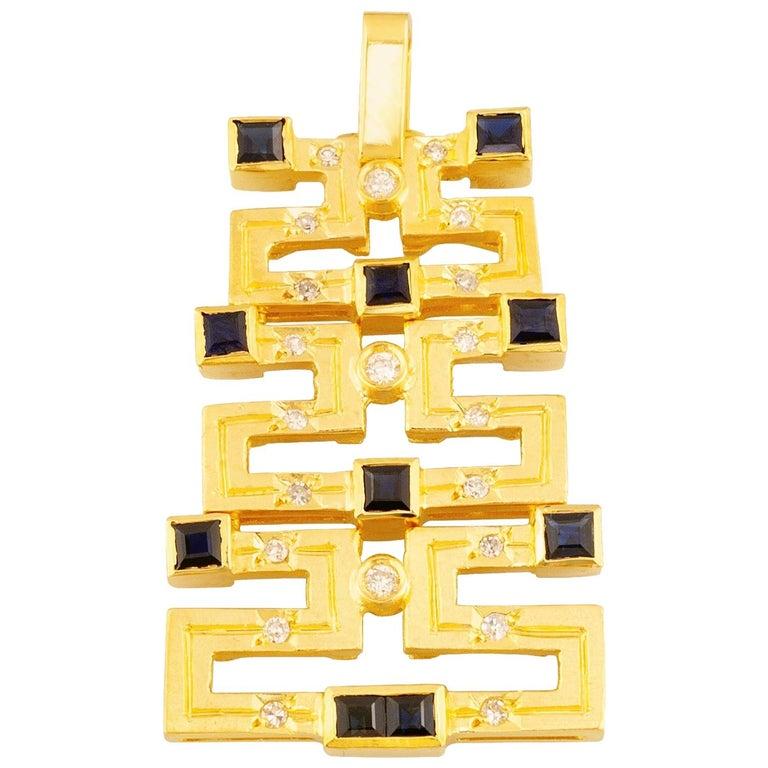 Georgios Collections 18 Karat Gold Sapphire and Diamond Greek Key Long Pendant For Sale