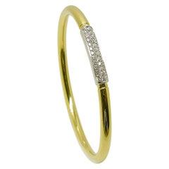Georgios Collections 18 Karat Gold Two-Tone Diamond Bangle Cuff Bracelet