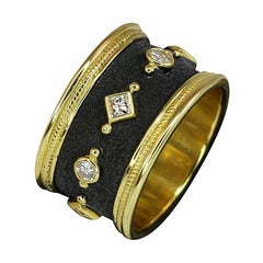 Georgios Collections 18 Karat Gold Two-Tone Diamond Wide Eternity Band Ring