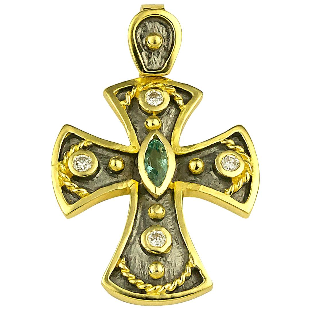 Georgios Collections 18 Karat Gold Two-Tone Emerald and Diamond Byzantine Cross