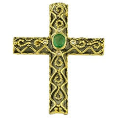 Georgios Collections 18 Karat Gold Two-Tone Emerald and Diamond Byzantine Cross
