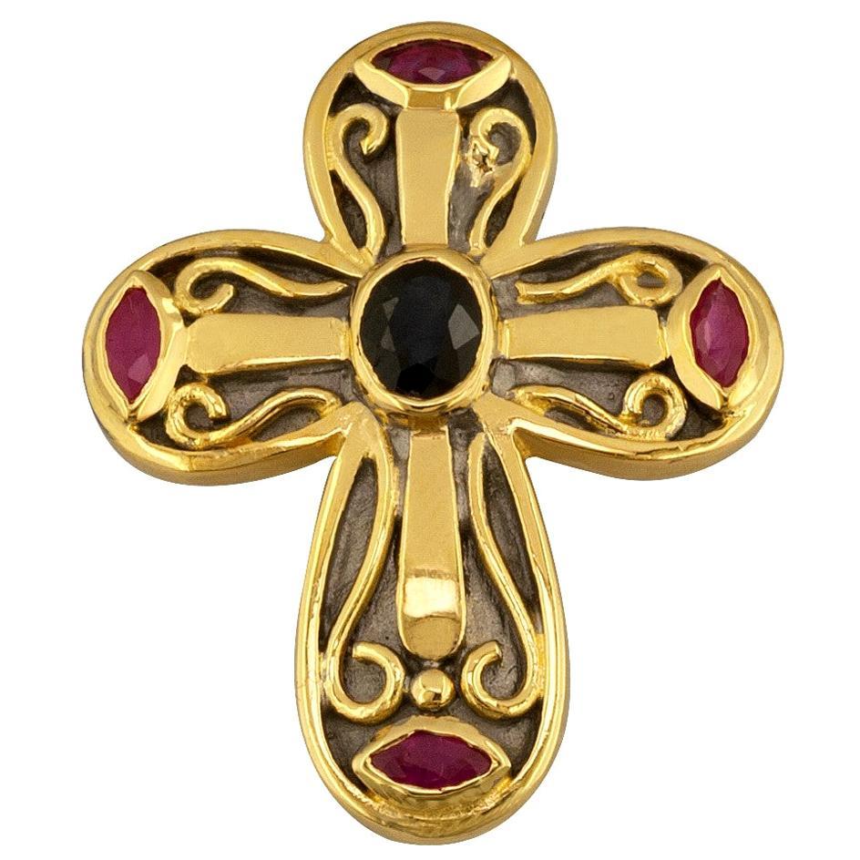 Georgios Collections 18 Karat Gold Two-Tone Sapphire Emerald Multi-Color Cross