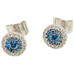 Georgios Collections 18 Karat Gold White and Blue Diamond Stud Earrings