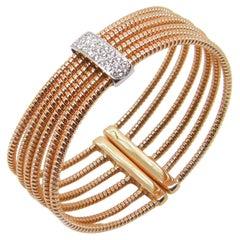 Georgios Collections 18 Karat Rose and White Gold Diamond Flexi Cuff Bracelet