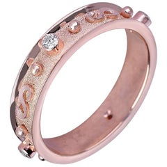 Georgios Collections 18 Karat Rose Gold Band Ring with Diamonds and Granulation