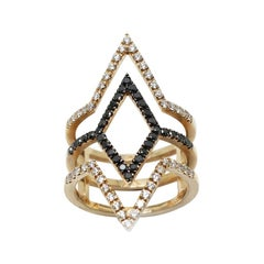 Georgios Collections 18 Karat Rose Gold Black and White Diamond Spiral Band Ring