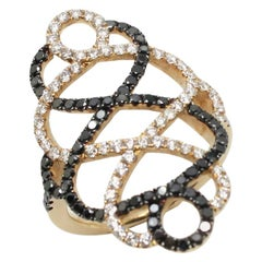 Georgios Collections 18 Karat Rose Gold Black and White Diamond Spiral Long Ring