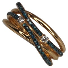 Georgios Collections 18 Karat Rose Gold Blue and White Diamond Band Ring