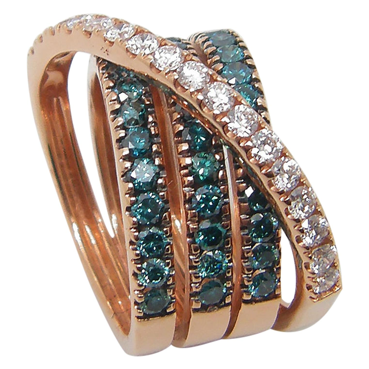 Georgios Collections 18 Karat Rose Gold Blue and White Diamond Wide Band Ring