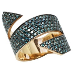 Georgios Collections 18 Karat Rose Gold Blue Diamond Black Rhodium Band Ring
