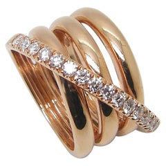 Georgios Collections 18 Karat Rose Gold Brilliant Cut Diamond Spiral Band Ring