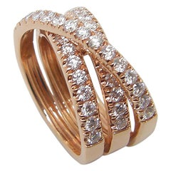 Georgios Collections 18 Karat Rose Gold Brilliant Cut White Diamond Spiral Ring