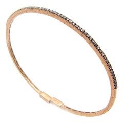 Georgios Collections 18 Karat Rose Gold Brown Chocolate Diamond Thin Bracelet
