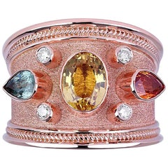 Georgios Collections 18 Karat Rose Gold Diamond Band Ring Multicolor Sapphires