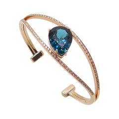 Georgios Collections 18 Karat Rose Gold Diamond London Blue Topaz Cuff Bracelet