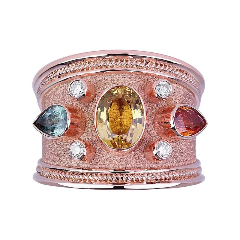 Georgios Collections 18 Karat Rose Gold Diamond Ring with Multicolor Sapphires