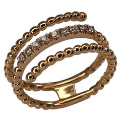 Georgios Collections 18 Karat Rose Gold Diamond Triple Bands Ring