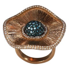 Georgios Collections 18 Karat Rose Gold Multi Blue and White Diamond Ring