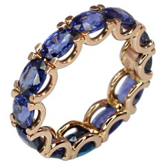 Georgios Collections 18 Karat Rose Gold Natural Blue Sapphire Eternity Band Ring