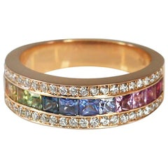 Georgios Collections 18 Karat Rose Gold Rainbow Sapphire and Diamond Band Ring