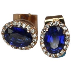 Georgios Collections 18 Karat Rose Gold Sapphire and Diamond Oval Stud Earrings
