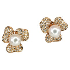 Georgios Collections 18 Karat Rose Gold South Sea Pearl and Diamond Earrings