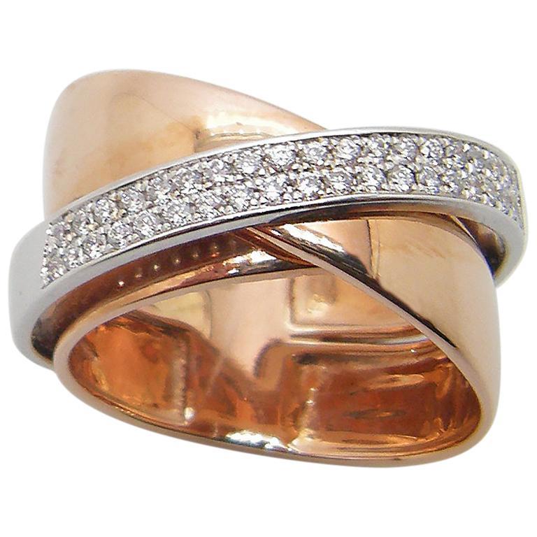 Georgios Collections 18 Karat Rose Gold Two-Tone Diamond Three-Band Ring