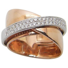 Georgios Collections 18 Karat Rose Gold Two-Tone Diamond Three-Band Ring