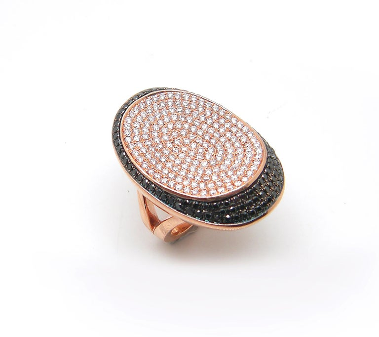 Georgios Collections 18 Karat Rose Gold White and Black Diamond Long Wide Ring For Sale 3