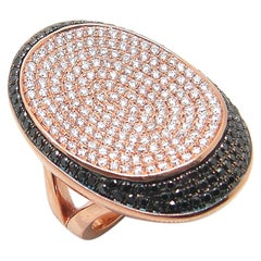 Georgios Collections 18 Karat Rose Gold White and Black Diamond Long Wide Ring