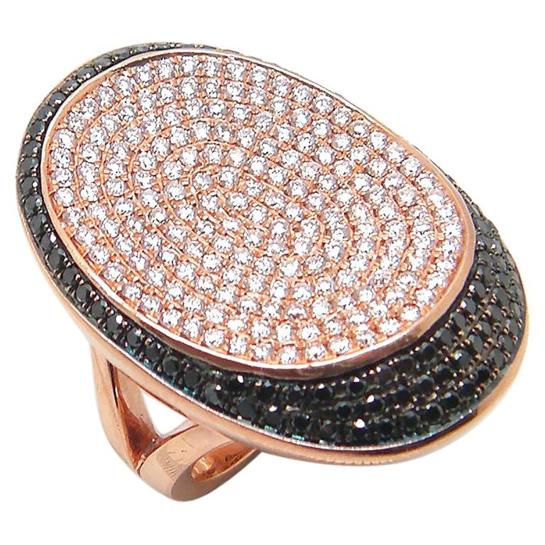 Georgios Collections 18 Karat Rose Gold White and Black Diamond Long Wide Ring For Sale