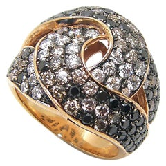 Georgios Collections 18 Karat Rose Gold White Black Brown Diamond Band Ring