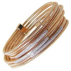 Georgios Collections 18 Karat Rose White Gold Diamond Flexible Cuff Bracelet