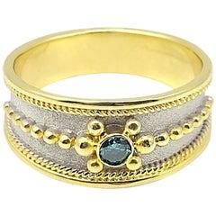 Georgios Collections 18 Karat Two-Tone Gold Blue Diamond Thin Band Ring