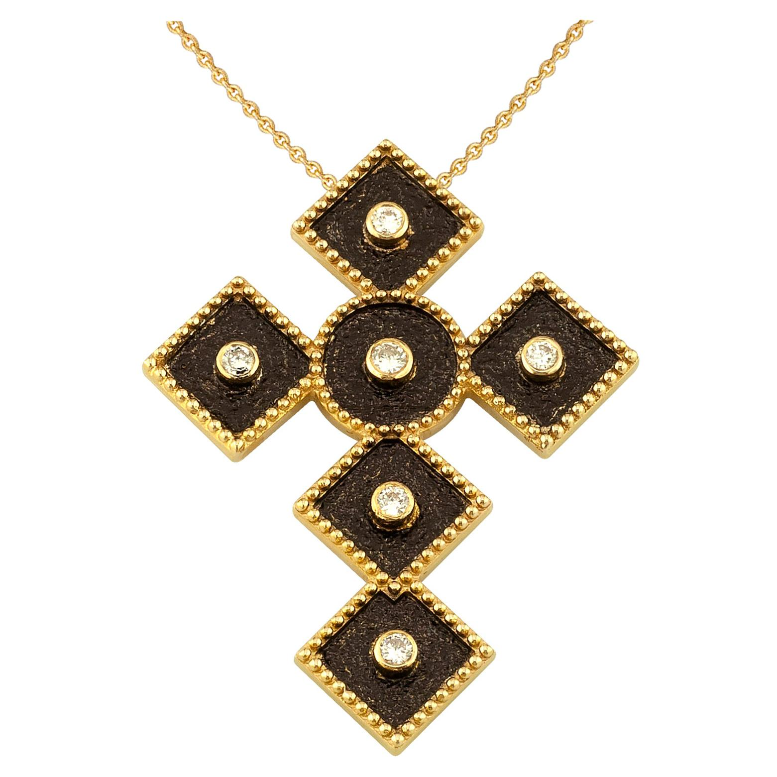 Georgios Collections 18 Karat Two-Tone Gold Diamond Cross Pendant with Chain