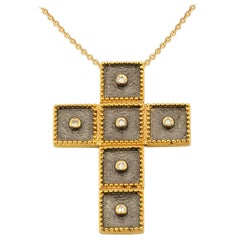 Georgios Collections 18 Karat Two-Tone Gold Diamond Cross Pendant with Chain