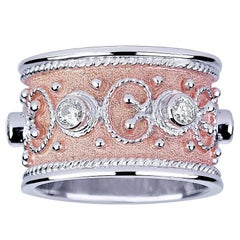 Georgios Collections 18 Karat White and Rose Gold Diamond Granulated Band Ring