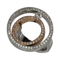Georgios Collections 18 Karat White and Rose Gold Round Diamond Bezel Ring