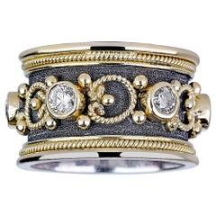Georgios Collections 18 Karat White and Yellow Gold Byzantine Diamond Band Ring