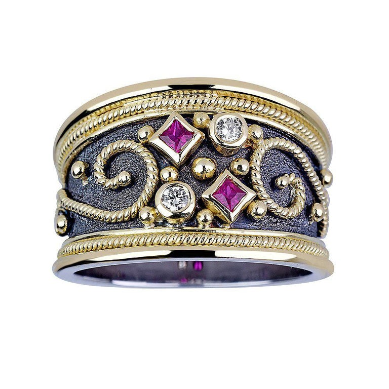 Georgios Collections 18 Karat White and Yellow Gold Byzantine Diamond Ruby Ring For Sale